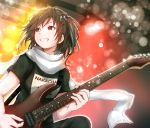 1girl baileys_(tranquillity650) bangs blurry blurry_background blush bokeh brown_eyes brown_hair clothes_writing depth_of_field electric_guitar grin guitar hair_between_eyes hair_ornament highres holding_plectrum indoors instrument kantai_collection lights looking_away music playing_instrument plectrum remodel_(kantai_collection) scarf sendai_(kantai_collection) shirt short_hair sidelocks signature smile strap sweat twitter_username two_side_up white_scarf