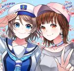 2girls anchor_symbol artist_name baseball_cap blue_eyes blue_neckwear brown_eyes brown_hair character_name cherry_blossoms earrings floral_print grey_hair grey_shirt hat hyugo jewelry love_live! love_live!_sunshine!! multiple_girls neckerchief off-shoulder_shirt pink_hat plaid_neckwear sailor_collar saitou_shuka salute seiyuu seiyuu_connection shirt short_hair smile upper_body w watanabe_you