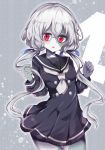 1girl 4 bangs black_dress black_sailor_collar blue_ribbon blush breasts commentary_request cowboy_shot dress eyebrows_visible_through_hair grey_background grey_neckwear hair_between_eyes hair_ribbon hands_up head_tilt highres konno_junko long_hair long_sleeves looking_at_viewer low_twintails maturiuta_sorato neckerchief number pale_skin parted_lips pleated_dress red_eyes ribbon sailor_collar sailor_dress short_dress silver_hair simple_background small_breasts solo standing stitches thighs twintails very_long_hair zombie zombie_land_saga