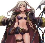 1girl belt bikini book breasts brown_eyes brown_gloves cleavage cloak cowboy_shot female_my_unit_(fire_emblem:_kakusei) fire_emblem fire_emblem:_kakusei fire_emblem_heroes fish gloves harpoon highres jewelry kometubu0712 leather leather_gloves long_hair looking_at_viewer medium_breasts my_unit_(fire_emblem:_kakusei) navel necklace nintendo o-ring o-ring_bikini purple_bikini silver_hair simple_background smile solo swimsuit thigh_strap twintails white_background