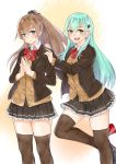 2girls :d aqua_hair ascot blue_eyes bow bowtie brown_cardigan brown_hair brown_jacket brown_legwear c-da eyebrows_visible_through_hair green_eyes hair_between_eyes hair_ornament hairclip highres jacket kantai_collection kumano_(kantai_collection) long_hair looking_at_viewer multiple_girls open_mouth pleated_skirt ponytail red_neckwear remodel_(kantai_collection) school_uniform simple_background skirt smile suzuya_(kantai_collection) thigh-highs white_background