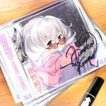 1girl blue_eyes cable cd_case chalkboard coat commentary_request hair_ribbon highres konno_junko long_hair looking_at_viewer marker mittens ribbon scarf shizuki_shuuya signature silver_hair solo sunglasses sweater turtleneck turtleneck_sweater walkman zombie_land_saga