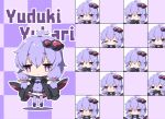 0_0 1girl :< :d ^_^ ahoge anger_vein black_footwear black_jacket blush boots character_name checkered checkered_background chibi closed_eyes closed_eyes closed_mouth commentary_request criss-cross_halter dress expressions hair_ornament halterneck hood hood_down hooded_jacket jacket long_hair long_sleeves milkpanda multiple_views nose_blush open_clothes open_jacket open_mouth parted_lips puffy_long_sleeves puffy_sleeves purple_dress purple_hair purple_legwear shaded_face sleeves_past_fingers sleeves_past_wrists smile sweatdrop tears thigh-highs thighhighs_under_boots violet_eyes voiceroid yuzuki_yukari