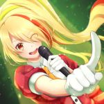 1girl blonde_hair commentary_request eyes_visible_through_hair gloves hair_over_one_eye highres long_hair microphone multicolored_hair necktie nikaidou_saki orange_eyes pointing ponytail puffy_short_sleeves puffy_sleeves short_sleeves solo streaked_hair white_gloves zombie_land_saga