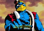 angry bilingual black_eyes blue_skin cel_shading cosmi-cam hat hokuto_no_ken kenshirou king_dedede kirby_(series) manly muscle nintendo parody pointing pun torn_clothes vest you_are_already_dead