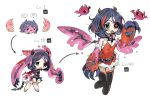 1girl bat belt black_legwear blue_hair chained_wrists chains claws creature cropped_legs cuffs dress egg evolution eyepatch fang green_eyes handcuffs hatching hayasaka_mirei highres horns idolmaster idolmaster_cinderella_girls level_up monster_girl multicolored_hair multiple_views pink_dress red_dress scar scar_across_eye simple_background slime spawnfoxy spiked_belt streaked_hair studded_belt thigh-highs white_background wings zipper_pull_tab