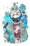 1girl artist_name blue_eyes cowboy_shot eyebrows_visible_through_hair floating hair_between_eyes hat interlocked_fingers knit_hat long_sleeves looking_at_viewer maruti_bitamin mask original own_hands_together pink_hair scarf short_hair simple_background smile snow snowflake_print snowflakes snowing sweater white_background