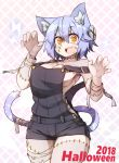 1girl 2018 animal_ears bandage blue_hair breasts cat_ears cat_tail cleavage fang halloween halloween_costume looking_at_viewer medium_breasts open_mouth orange_eyes original outstretched_arms ryota_tentei scar short_hair shorts solo tail tora_tentei zombie zombie_pose