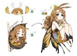 1girl antennae bangs barefoot blush brown_hair bug butterfly butterfly_wings cocoon egg evolution flower frilled_skirt frills hair_flower hair_ornament hands_together hatching highres idolmaster idolmaster_million_live! insect insect_girl knees_up legs_together level_up long_hair looking_at_viewer miyao_miya monster_girl multiple_views nail_polish orange_nails simple_background skirt sleeping spawnfoxy thick_eyebrows tree_branch wavy_hair white_background wings
