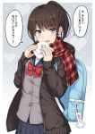 1girl backpack bag bag_charm bangs baozi blue_eyes blue_sailor_collar blue_skirt blush bow brown_cardigan brown_hair cardigan charm_(object) commentary_request eyebrows_visible_through_hair fang fingernails food fringe_trim grey_background grey_vest hair_between_eyes hands_up heart high_ponytail holding holding_food long_hair long_sleeves nakamura_sumikage open_cardigan open_clothes open_mouth original plaid plaid_scarf pleated_skirt ponytail red_bow red_scarf sailor_collar scarf skirt sleeves_past_wrists solo sweat translated two-tone_background vest white_background