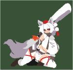 1girl animal_ears bangs closed_mouth commentary_request flat_color full_body green_background inubashiri_momiji looking_at_viewer lowres no_lineart pom_pom_(clothes) red_eyes simple_background smile solo tail takorin tassel touhou white_hair white_legwear wolf_ears wolf_girl wolf_tail