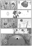 ... 1girl ? afterimage bangs bare_shoulders cerulean_(kemono_friends) comic crossover eyes_visible_through_hair floating flying_sweatdrops freckles goggles goggles_on_head greyscale highres kaze_no_tani_no_nausicaa kemono_friends kishida_shiki kyoshinhei looking_at_another monochrome motion_lines one-eyed original short_hair silent_comic spoken_ellipsis spoken_question_mark spoken_squiggle squiggle staff