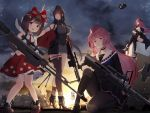 4girls ahoge anti-materiel_rifle bangs bare_shoulders barrett_m82 bike_shorts black_hair blunt_bangs blush boots bow braid breasts brown_hair choker cleavage commentary_request dress dsr-50_(girls_frontline) dsr-50_(weapon) eyebrows_visible_through_hair fingerless_gloves girls_frontline gloves gun hair_bow hair_ornament hat hayabusa headgear high_heel_boots high_heels highres holding jewelry knee_pads large_breasts long_hair long_jacket m82a1_(girls_frontline) m99_(girls_frontline) miniskirt multiple_girls ntw-20 ntw-20_(girls_frontline) open_mouth pantyhose pink_eyes pink_hair pouch rabbit red_bow red_dress red_eyes ribbon rifle scope short_hair sidelocks skirt sniper_rifle thigh-highs thighs underbust very_long_hair violet_eyes weapon white_legwear zijiang_m99