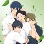 5boys black_hair blue_hair fujiwara_shuu gradient gradient_background green_background grey_eyes highres hug japanese_clothes leaf looking_at_viewer male_focus male_harem masaki_takigawa minato_narumiya mole mole_under_eye multiple_boys short_hair takehaya_seiya tsurune:_kazemai_koukou_kyuudoubu twitter_username upper_body very_short_hair violet_eyes yaoi
