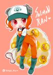 1girl :d agent_8 boots egg elbow_gloves gloves hat heart highres jumpsuit leaning_forward net octoling open_mouth pink_eyes rubber_boots rubber_gloves salmon_run shirt short_hair shoulder_strap smile solo splatoon splatoon_(series) splatoon_2 splatoon_2:_octo_expansion tentacle tentacle_hair white_shirt yaya_(yayaya)