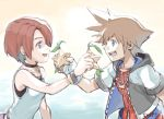 1boy 1girl blue_eyes breasts brown_hair commentary_request gloves jewelry kairi_(kingdom_hearts) kingdom_hearts kingdom_hearts_i nanpou_(nanpou0021) necklace open_mouth redhead short_hair smile sora_(kingdom_hearts)