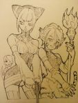 animal_ears breasts breath_of_fire breath_of_fire_ii breath_of_fire_v bustier capcom cat_ears cat_tail cleavage commentary_request crossover dress facial_mark furry gloves gun hair_over_one_eye highres jewelry lin_(breath_of_fire) medium_breasts multiple_girls nanpou_(nanpou0021) nina_(breath_of_fire_v) no_panties no_pants pointy_ears ribbed_sweater rinpoo_chuan short_hair smile staff sweater tail thigh-highs weapon wings