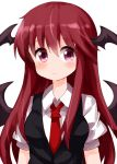 1girl :/ bangs black_vest blush breasts collared_shirt commentary_request demon_wings dress_shirt eyebrows_visible_through_hair hair_between_eyes head_wings koakuma long_hair looking_at_viewer medium_breasts necktie puffy_short_sleeves puffy_sleeves red_eyes red_neckwear redhead ruu_(tksymkw) shirt short_sleeves sidelocks simple_background solo touhou upper_body vest white_background white_shirt wings
