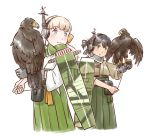 2girls animal_on_arm bangs bird blonde_hair blue_eyes blue_ribbon brown_eyes brown_hair camouflage dougi eyebrows_visible_through_hair flight_deck folded_ponytail gloves green_hakama grey_gloves hair_ornament hair_ribbon hakama hakama_skirt hawk headphones japanese_clothes kantai_collection karasu_(naoshow357) kasuga_maru_(kantai_collection) long_hair machinery multiple_girls ribbon scarf shin'you_(kantai_collection) side_ponytail simple_background single_glove smile swept_bangs taiyou_(kantai_collection) white_background