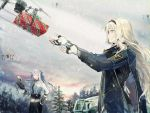 2girls ak-12_(girls_frontline) an-94 an-94_(girls_frontline) assault_rifle bangs blonde_hair blue_eyes box braid cape christmas_ornaments christmas_tree closed_mouth commentary_request eyebrows_visible_through_hair fingerless_gloves french_braid gift gift_box girls_frontline gloves gun hairband holding jacket long_hair long_sleeves multiple_girls ribbon rifle robot sidelocks silver_hair smile snow very_long_hair weapon wss_(32656138)