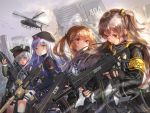 404_(girls_frontline) 4girls :3 absurdres aircraft animal assault_rifle bangs belt_pouch beret bird black_bow black_eyes black_gloves black_hat black_jacket black_legwear black_shorts black_skirt blurry_foreground bow brown_hair building city cityscape closed_eyes commentary_request cowboy_shot cross_hair_ornament day expressionless eyebrows_visible_through_hair facial_mark fingerless_gloves flock g11 g11_(girls_frontline) girls_frontline gloves green_eyes green_hat grey_sky gun h&k_ump hair_bow hair_ornament hairclip hand_up hat heckler_&_koch helicopter highres hk416 hk416_(girls_frontline) holding holding_gun holding_weapon huge_filesize jacket leg_belt long_hair long_sleeves looking_at_another looking_at_viewer looking_down miniskirt motion_blur multiple_girls one_side_up open_clothes open_jacket open_mouth orange_eyes outdoors plaid plaid_skirt pleated_skirt pouch purple_jacket red_eyes rifle ruins sakura_honoka_(srhk0623) scar scar_across_eye shirt short_shorts shorts side-by-side sidelocks silver_hair skirt smile smoke submachine_gun sunlight thigh-highs twintails ump45_(girls_frontline) ump9_(girls_frontline) uneven_eyes v-shaped_eyebrows weapon white_gloves white_hair white_shirt zettai_ryouiki
