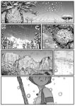 4girls animal_ears antlers bare_shoulders comic day freckles greyscale highres jewelry kemono_friends kishida_shiki materializing monochrome motion_lines mountain mountain_hare_(kemono_friends) multiple_girls necklace open_mouth outdoors silent_comic snow snowman tail yezo_sika_deer_(kemono_friends)