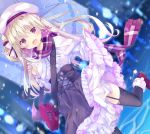 1girl bag blonde_hair blurry blurry_background braid capelet dutch_angle fang frilled_skirt frills garter_straps gothic_lolita hat heart highres kinokomushi lifted_by_self lolita_fashion long_hair looking_at_viewer open_mouth original outdoors red_eyes running scarf skirt skirt_lift snowing solo thigh-highs umbrella