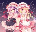 2girls ;d alternate_costume aogiri_sei apron arm_up bangs black_legwear blonde_hair bloomers blouse commentary_request contrapposto cowboy_shot curled_fingers enmaided fang flandre_scarlet flower gradient gradient_background hair_flower hair_ornament hand_holding hat hat_ribbon interlocked_fingers lavender_hair light_particles looking_at_viewer maid mob_cap multiple_girls one_eye_closed open_hand open_mouth pantyhose petticoat pink_blouse pink_neckwear pink_ribbon pink_skirt pointy_ears puffy_short_sleeves puffy_sleeves red_eyes remilia_scarlet ribbon short_hair short_sleeves siblings side_ponytail sisters skirt smile star striped striped_blouse striped_hat striped_skirt thigh-highs touhou underwear waist_apron white_legwear wrist_cuffs yellow_neckwear yellow_ribbon