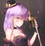 1girl absurdres bare_shoulders black_background black_choker black_gloves black_hat bow breasts choker cleavage detached_sleeves earrings facepaint fingerless_gloves glint gloves gold_trim hat hat_bow highres holding holding_microphone jewelry long_hair looking_at_viewer microphone original purple_hair rika_(mikunopantsu) small_breasts stud_earrings upper_body