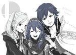 braid cape cloak closed_eyes female_my_unit_(fire_emblem:_kakusei) fire_emblem fire_emblem:_kakusei gloves greyscale grin hairband hand_on_another's_head krom long_hair looking_at_viewer lucina monochrome my_unit_(fire_emblem:_kakusei) nintendo ribbed_shirt sayoyonsayoyo shirt short_hair shoulder_armor simple_background smile super_smash_bros. super_smash_bros._ultimate turtleneck twintails twitter_username white_background