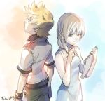1boy 1girl blonde_hair blue_eyes breasts commentary_request dress kingdom_hearts kingdom_hearts_ii medium_hair namine nanpou_(nanpou0021) roxas white_background white_dress