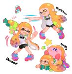 1girl 1other bike_shorts copy_ability domino_mask fangs ink_tank_(splatoon) inkling kirby kirby_(series) kyuurisoda long_hair mask nintendo paint_splatter pointy_ears shoes simple_background smile sneakers splatoon splatoon_(series) splatoon_1 splattershot_(splatoon) squid squidbeak_splatoon super_smash_bros. super_smash_bros._ultimate tentacle_hair topknot