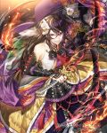 :d black_hair dual_wielding elbow_gloves fire flaming_sword gloves grin holding holding_sword holding_weapon long_hair looking_at_viewer mask mask_on_head mura_karuki official_art open_mouth senran_no_samurai_kingdom smile sword tassel very_long_hair violet_eyes watermark weapon