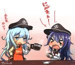 akatsuki_(kantai_collection) anchor_symbol aoba_(akibajun) black_skirt blue_eyes blush closed_eyes coffee coffee_cup cup cyrillic disposable_cup flat_cap gradient gradient_background hair_between_eyes hat hibiki_(kantai_collection) highres kantai_collection long_hair long_sleeves multiple_girls neckerchief open_mouth pleated_skirt purple_hair sailor_collar school_uniform serafuku silver_hair skirt translation_request twitter_username