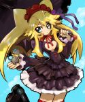 1girl animal anyamal_tantei_kirumin_zoo aqua_eyes bat_wings black_footwear blonde_hair blush breasts cleavage_cutout commentary_request dakusuta dress frilled_dress frilled_sleeves frills gothic_lolita hair_between_eyes hair_ornament hairband hatori_kanon headdress highres holding holding_umbrella juliet_sleeves lolita_fashion long_hair long_sleeves mouse neck_ribbon puffy_sleeves red_ribbon ribbon solo thigh-highs umbrella wings zettai_ryouiki