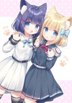 2girls :d :o animal_ear_fluff animal_ears belt belt_buckle black_belt black_hair black_legwear blonde_hair blue_bow blue_eyes blush bow buckle cat_ears claw_pose collared_shirt commentary_request dress_shirt epaulettes fang grey_shirt grey_skirt hair_bow hair_ornament hairclip hand_holding hands_up highres interlocked_fingers long_sleeves looking_at_viewer multiple_girls open_mouth parted_lips pink_background pleated_skirt polka_dot polka_dot_background rukiroki sasugano_roki sasugano_ruki shirt skirt sleeves_past_wrists smile thigh-highs two-tone_background usashiro_mani virtual_youtuber white_background white_belt white_shirt white_skirt
