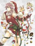 blue_eyes boots box character_request christmas dissidia_final_fantasy final_fantasy fur_trim gift gift_box gloves hat lightning_farron pink_hair red_gloves ribbon sack santa_costume santa_hat shichimiso thighs