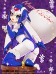 1girl adapted_costume android ass bent_over blue_eyes blue_footwear blue_legwear blue_santa_costume bodysuit boots bridal_gauntlets camellia36kiyo chimney fur_trim helmet high_heels highres leviathan_(rockman) looking_at_viewer looking_back merry_christmas open_mouth rockman sack santa_costume snowflakes solo source_request thigh-highs thigh_boots