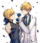 1boy 1girl arthur_pendragon_(fate) artoria_pendragon_(all) blonde_hair blue_bow blue_dress blue_eyes blue_flower blue_neckwear blue_rose bow breasts cleavage collarbone couple dress elbow_gloves eyebrows_visible_through_hair fate_(series) flower formal gloves grey_gloves hair_between_eyes hair_bow holding holding_flower jacket medium_breasts necktie open_mouth rose saber short_hair simple_background sleeveless sleeveless_dress upper_body white_background white_jacket woumu