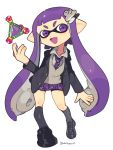 1girl bangs domino_mask highres inkling long_hair looking_at_viewer mask nintendo open_mouth pleated_skirt school_uniform serafuku shirt simple_background skirt smile splatoon splatoon_(series) splatoon_1 super_smash_bros. super_smash_bros._ultimate tentacle_hair white_shirt yasaikakiage