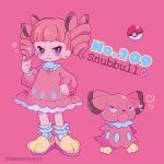 1girl bangs blunt_bangs bow character_name clenched_hand creatures_(company) dress drill_hair fangs frown full_body game_freak gen_2_pokemon hair_bow heart highres long_hair long_sleeves looking_at_viewer mameeekueya moemon nintendo personification pink_background pink_bow pink_dress pink_hair poke_ball pokemon pokemon_(creature) pokemon_number shoes simple_background snubbull standing twitter_username yellow_footwear