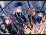 404_(girls_frontline) 4girls armband assault_rifle bangs beret black_bow black_hat black_jacket black_legwear black_ribbon black_shorts blunt_bangs bow broken_mirror brown_eyes brown_hair closed_mouth coat crossed_bangs facial_mark finger_on_trigger fingerless_gloves g11 g11_(girls_frontline) girls_frontline gloves green_hat green_jacket grey_hair gun h&k_ump h&k_ump45 hair_ornament hairclip hat heckler_&_koch highres hk416 hk416_(girls_frontline) holding holding_gun holding_weapon hood hood_down hooded_jacket jacket long_hair looking_at_viewer looking_to_the_side memekun messy_hair multiple_girls one_side_up open_clothes open_coat open_jacket pantyhose plaid plaid_skirt reflection ribbon rifle scar scar_across_eye scarf_on_head shirt shorts shoulder_cutout skirt submachine_gun teardrop thigh-highs trigger_discipline twintails ump45_(girls_frontline) ump9_(girls_frontline) violet_eyes weapon white_hair white_shirt yellow_eyes