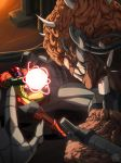 1girl alien arm_cannon battle brain cyborg faceoff highres horns mechanical_arms metroid mother_brain naavs nintendo power_armor powering_up samus_aran science_fiction sharp_teeth super_metroid teeth varia_suit weapon