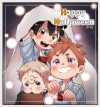 2018 3boys :d absurdres ahoge black_hair blonde_hair blue_shirt book brown_hair child collared_shirt commentary_request happy_halloween highres holding holding_book kiyui_(made_in_abyss) looking_at_viewer made_in_abyss multiple_boys natt_(made_in_abyss) open_mouth parted_lips red_eyes shiggy_(made_in_abyss) shirt short_hair short_sleeves smile usuki_(usukine1go) violet_eyes whistle wing_collar
