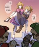 2boys 2girls bandaid bandaid_on_face black_collar black_dress blonde_hair blue_earrings bound bowsette bracelet carrying collar crown dress earrings english gagged gloves heartgear highres horns injury jewelry luigi mallet mario mario_(series) multiple_boys multiple_girls new_super_mario_bros._u_deluxe nintendo pointy_ears princess_carry rope skirt spiked_armlet spiked_bracelet spiked_collar spiked_shell spiked_tail spikes strapless strapless_dress super_crown super_mario_bros. tail tied_up trembling turtle_shell