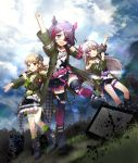 3girls :d arm_up asymmetrical_legwear belt black_footwear black_skirt blue_sky brown_eyes brown_hair clenched_hand clouds eyepatch fishnet_legwear fishnets fur_trim grass green_jacket green_legwear hair_ornaent hayasaka_mirei holding holding_microphone horns hoshi_shouko idolmaster idolmaster_cinderella_girls idolmaster_cinderella_girls_starlight_stage jacket long_hair mameris2 medium_hair microphone morikubo_nono multicolored_hair multiple_girls open_mouth outdoors plaid pointing purplle_hair silver_hair skirt sky smile standing studded_choker television thigh_strap torn_clothes torn_legwear two-tone_hair violet_eyes