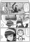 ! 3girls comic crossover godzilla godzilla_(series) greyscale highres humanization japanese_crested_ibis_(kemono_friends) kaze_no_tani_no_nausicaa kemono_friends kishida_shiki kyoshinhei monochrome multiple_crossover multiple_girls original personification shin_godzilla speech_bubble spoken_exclamation_mark translation_request