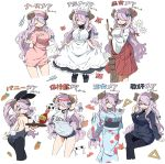 1girl absurdres alternate_costume amakara_surume animal_ears apron arms_behind_head arms_up ball black_dress black_legwear black_leotard braid breasts broom bunny_girl bunnysuit carrot cleavage clipboard closed_eyes cowboy_shot cup demon_horns detached_collar draph dress drinking_glass eyebrows_visible_through_hair fish flower formal frills from_behind glasses granblue_fantasy hair_over_one_eye hair_ribbon hat highres holding holding_broom holding_clipboard horns invisible_chair japanese_clothes kimono large_breasts lavender_hair leotard long_hair long_sleeves looking_at_viewer maid maid_apron maid_headdress multiple_views name_tag narmaya_(granblue_fantasy) necktie nurse nurse_cap open_mouth pink_hat pointy_ears rabbit_ears red_ribbon red_skirt ribbon set_square shirt short_sleeves shorts sideboob simple_background sitting skirt smile soccer_ball strapless strapless_leotard suit syringe tail very_long_hair white_background white_flower white_shirt wide_sleeves