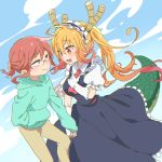 2girls blonde_hair blush commentary_request day dragon_girl dragon_horns dragon_tail elbow_gloves fang glasses gloves gradient_hair hand_holding hand_in_pocket hood hood_down hoodie horns interlocked_fingers kobayashi-san_chi_no_maidragon kobayashi_(maidragon) long_sleeves maid_headdress multicolored_hair multiple_girls orange_hair pants puffy_short_sleeves puffy_sleeves redhead short_sleeves sky smile soiri_(us) tail tooru_(maidragon) white_gloves yuri