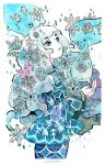 1girl artist_name blue_eyes cowboy_shot eyebrows_visible_through_hair floating grey_hair jacket long_hair long_sleeves looking_to_the_side maruti_bitamin original parted_lips print_jacket simple_background snow snowflake_print snowflakes snowing very_long_hair white_background